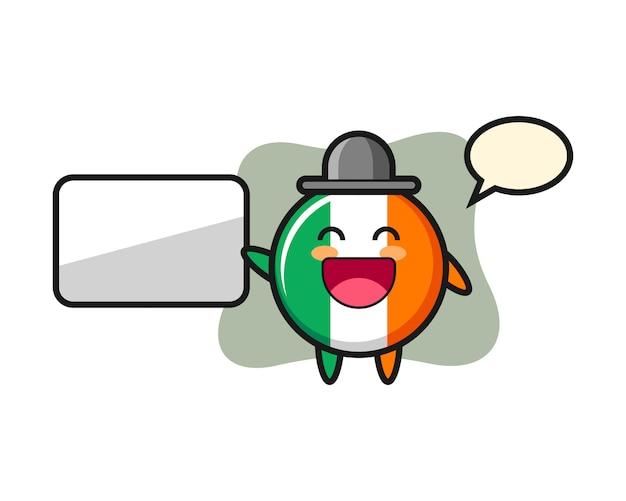 Ilustración de dibujos animados de insignia de bandera de irlanda haciendo una presentación