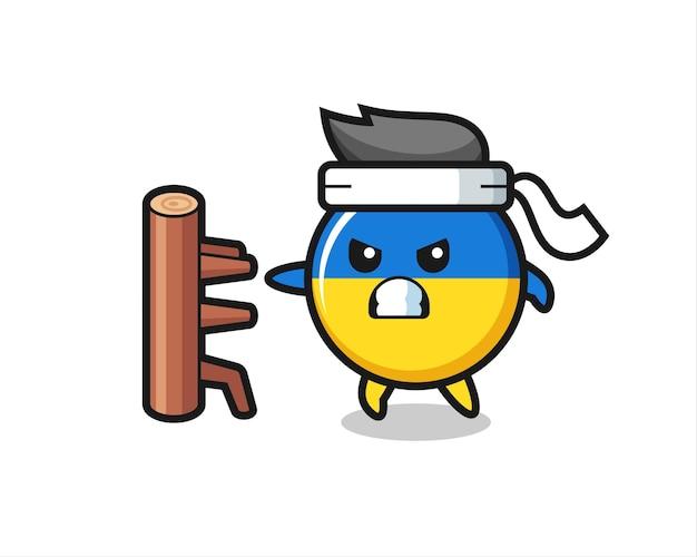 Ilustración de dibujos animados de la insignia de la bandera de ucrania como un luchador de karate, diseño de estilo lindo para camiseta, pegatina, elemento de logotipo