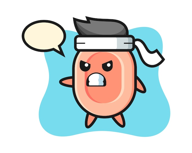 Ilustración de dibujos animados de jabón como luchador de karate, estilo lindo para camiseta, pegatina, elemento de logotipo