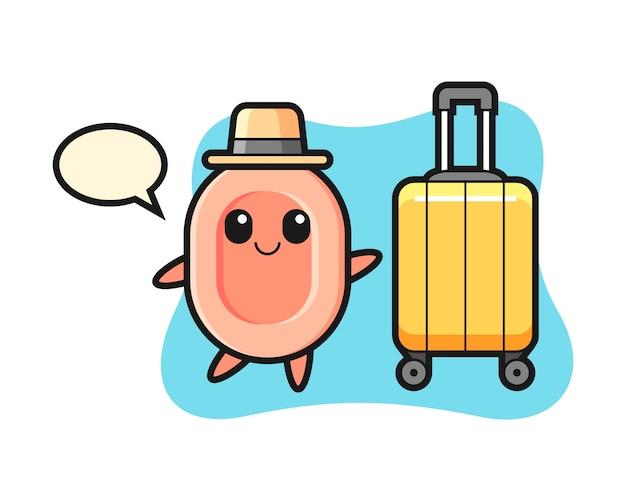 Ilustración de dibujos animados de jabón con equipaje de vacaciones, estilo lindo para camiseta, pegatina, elemento de logotipo