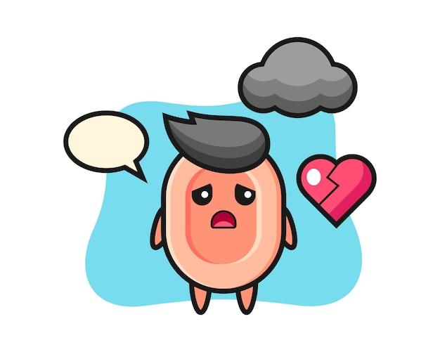 Ilustración de dibujos animados de jabón es corazón roto, estilo lindo para camiseta, pegatina, elemento de logotipo