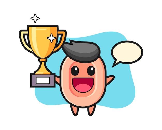 Ilustración de dibujos animados de jabón es feliz sosteniendo el trofeo dorado, lindo estilo para camiseta, pegatina, elemento de logotipo