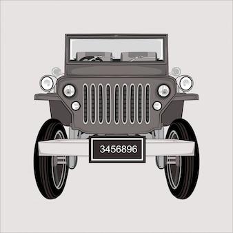 Ilustración de dibujos animados jeep retro clásico