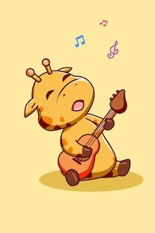 Ilustración de dibujos animados de jirafa feliz y divertida tocando la guitarra