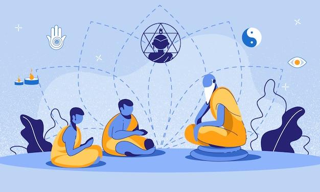 Ilustración de dibujos animados de jóvenes monjes budistas de formación
