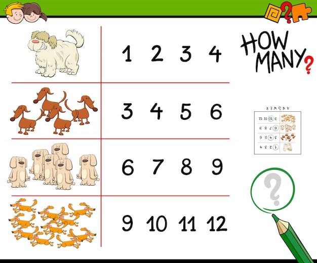 Ilustración de dibujos animados juego de perros contando