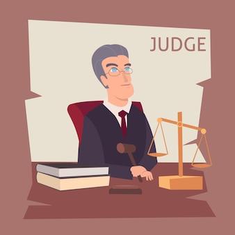 Ilustración de dibujos animados de juez