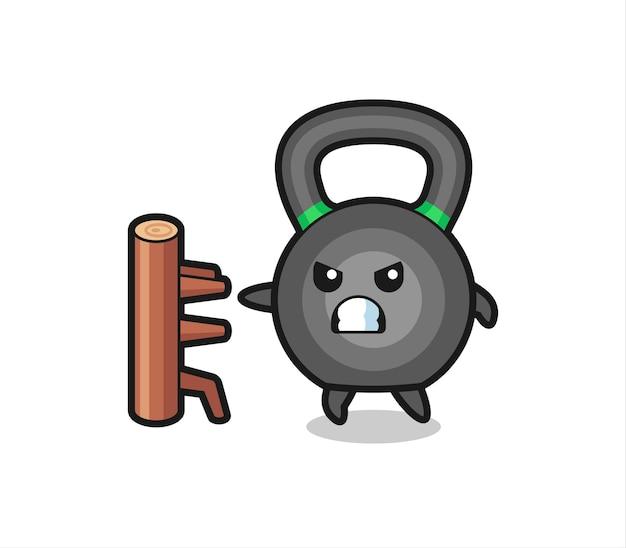 Ilustración de dibujos animados de kettlebell como un luchador de karate, diseño de estilo lindo para camiseta, pegatina, elemento de logotipo