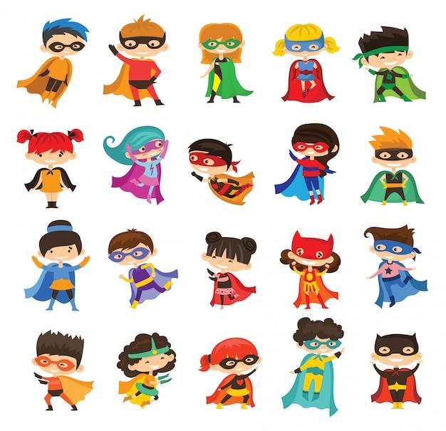 Ilustración de dibujos animados de kid superheroes con trajes de cómics aislados en el fondo blanco.