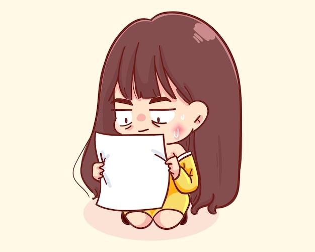 Ilustración de dibujos animados de letra de lectura de niña sorprendida