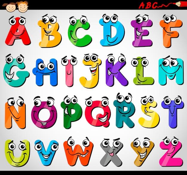 Ilustración de dibujos animados de letras mayúsculas alfabeto