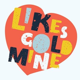 Ilustración de dibujos animados de likes goldmine letras dibujadas a mano en forma de corazón res spot