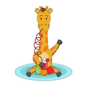 Ilustración de dibujos animados de linda jirafa bebiendo jugo de fruta
