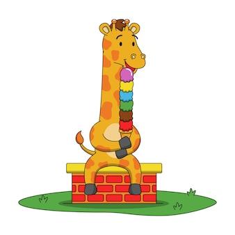Ilustración de dibujos animados de linda jirafa lamiendo helado