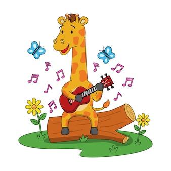 Ilustración de dibujos animados de linda jirafa tocando la guitarra