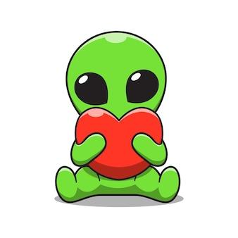 Ilustración de dibujos animados lindo alien holding amor