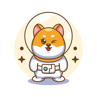 Ilustración de dibujos animados lindo astronauta perro shiba inu