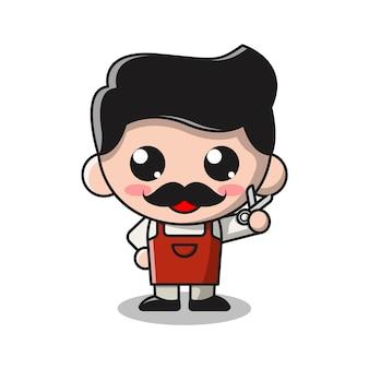 Ilustración de dibujos animados lindo barbero hombre