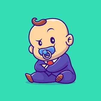 Ilustración de dibujos animados lindo bebé jefe con chupete