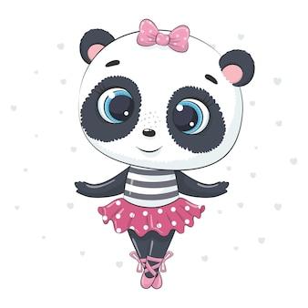 Ilustración de dibujos animados lindo bebé panda bailando