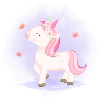 Ilustración de dibujos animados lindo bebé unicornio y mariposas