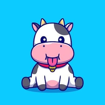Ilustración de dibujos animados lindo bebé vaca sentada.