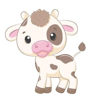 Ilustración de dibujos animados lindo bebé vaca