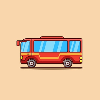 Ilustración de dibujos animados lindo bus rojo