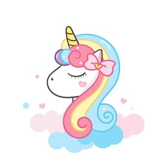 Ilustración de dibujos animados lindo cabeza de unicornio