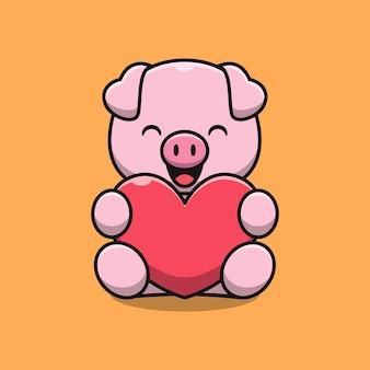 Ilustración de dibujos animados lindo cerdo con amor