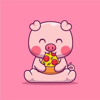 Ilustración de dibujos animados lindo cerdo comiendo pizza. concepto de comida animal aislado plano de dibujos animados