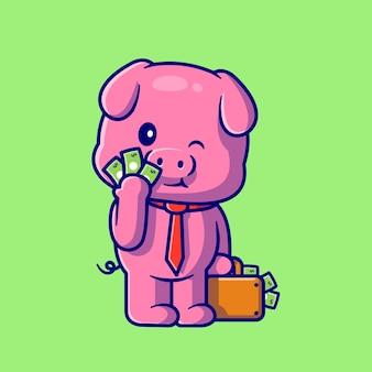 Ilustración de dibujos animados lindo cerdo con dinero