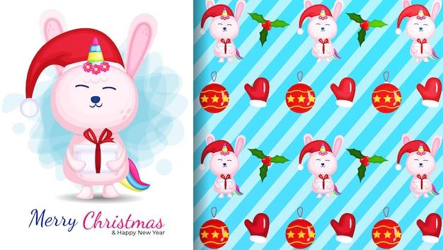 Ilustración de dibujos animados lindo conejito unicornio y patrones sin fisuras