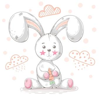 Ilustración de dibujos animados lindo conejo de peluche