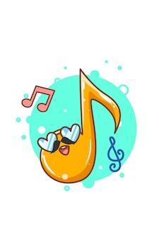 Ilustración de dibujos animados lindo diseño de notas musicales