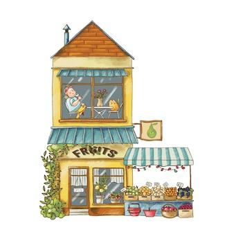 Ilustración de dibujos animados lindo del edificio del mercado de frutas