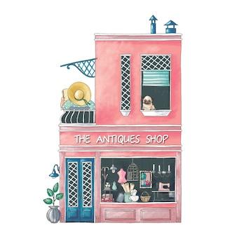Ilustración de dibujos animados lindo del edificio de la tienda de antigüedades
