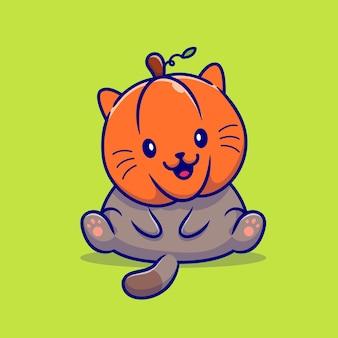 Ilustración de dibujos animados lindo gato calabaza