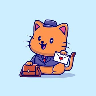 Ilustración de dibujos animados lindo gato cartero. concepto de profesión animal aislado. estilo de dibujos animados plana