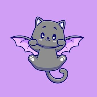 Ilustración de dibujos animados lindo gato murciélago volando