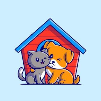 Ilustración de dibujos animados lindo gato y perro Vector Premium