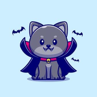 Ilustración de dibujos animados lindo gato vampiro.