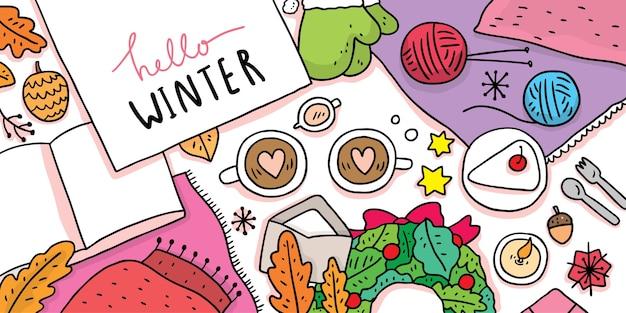 Ilustración de dibujos animados lindo invierno