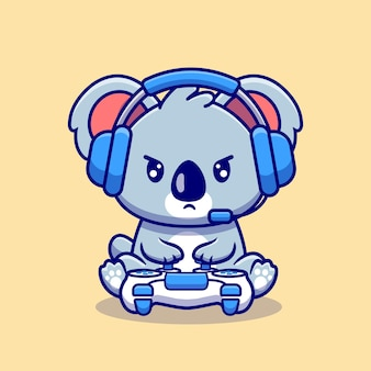 Ilustración de dibujos animados lindo koala gaming