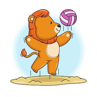 Ilustración de dibujos animados de lindo león jugando voleibol