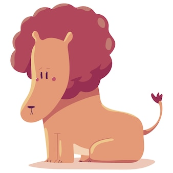 Ilustración de dibujos animados lindo león