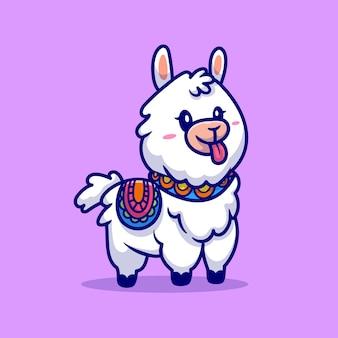 Ilustración de dibujos animados lindo llama alpaca