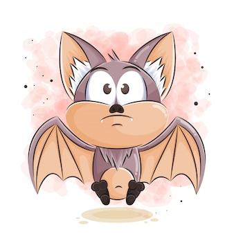 Ilustración de dibujos animados lindo murciélago
