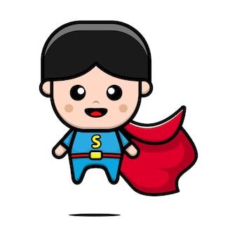 Ilustración de dibujos animados lindo niño superhéroe