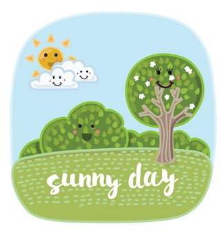 Ilustración de dibujos animados lindo paisaje de verano con elementos divertidos de la naturaleza con caras sonrientes.